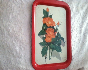 Vintage Metal Lap Tray with Roses