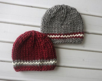 Newborn Red and Grey Chunky Wool Knit Beanies  - Boy Twin Set - Ready to Ship Photography Prop, RTS Photo Prop