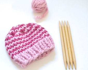 Striped Baby Hat // Chunky Knit Baby Beanie // Hand Knitted Baby Beanie // Striped Kids Hat // Winter Hat // Baby Girl Beanie // Beanies