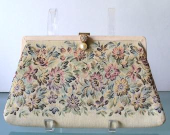 Vintage Tapestry Clutch Bag By Harry Levine HL