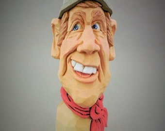 Hand Carved Wood Train Engineer Caricature