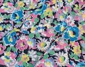 1940s Vintage Rayon Floral Dress Fabric Yardage NOS Rose Pink Airforce Blue