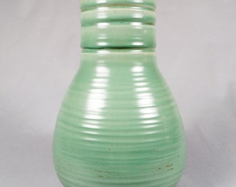 North Dakota School of Mines, UND Pottery, Arts and Crafts Lamp Base, green, 1940s