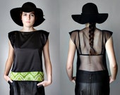 Black Silk Satin Blouse Minimalist Sheer Mesh Top Boho Chic See Through Back Tee Shirt Sexy Witch Sleeveless Womens Blouse