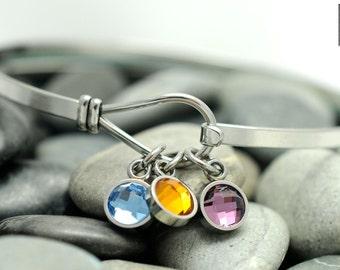 Birthstone Bracelet - Stainless Steel Charm Bracelet - Bangle Bracelet - Personalized Family Bracelet - Hook Bracelet - My Family Jewelry