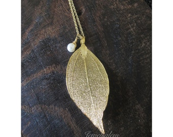 Gold Leaf Necklace with Small Pearl Drop Long Layered Elegant Bohemian Simple Modern Jewelry Chic Nature Woodland Big Leaf Charm Necklace C1