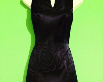 Vintage 90s Womens Black Rose Floral Mini Dress Size 6 Gothic Cocktail Avant Garde