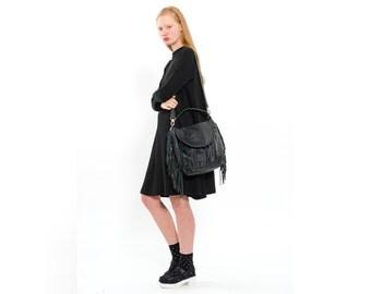 Midnight Black large leather bag- every day tote bag - fringe bag - StellaandLori
