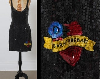 1990s Sequin MISS SELFRIDGE Dress, Sailor Heart Tattoo Design, Born to Be Bad, Mini Short, size Medium Amy Winehouse glam pin-up grunge 90s