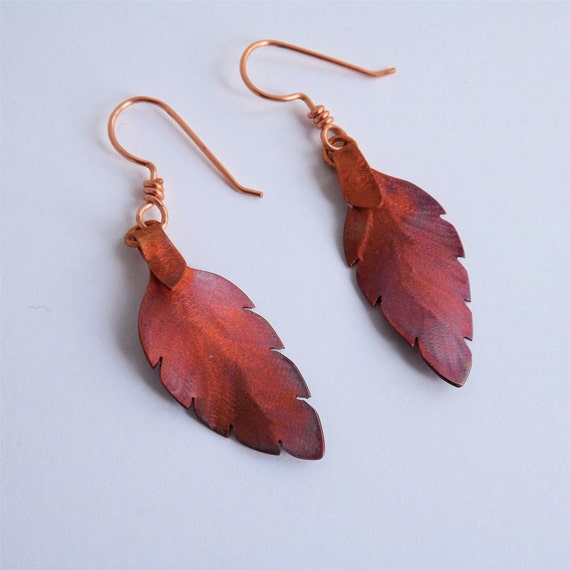 Leaf Earrings Handcrafted in Copper with Heat Patina