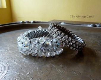 Vintage 1950's Stretch Crystal Dangle Bracelet, Retro, Vintage Bridal Jewelry, Retro Bride