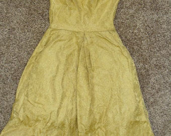 mustard yellow 1960's VINTAGE PARTY DRESS 1950's xs 32 bust