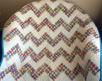 "A Zig Zag/Chevron 37.5"" X 37.5"" Quilt In Americana, Red, Green, Yellow and Blue"