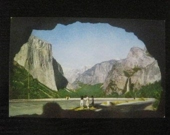 Yosemite Vintage Postcard, National Park, Half Dome, Bridalveil Falls as seen framed by the Wawona Tunnel