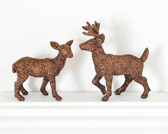Brown Deer Autumn Wedding Cake Topper Glittered Woodland Shower Centerpiece, Birthday Party Table Settings or Christmas Holiday Decoration