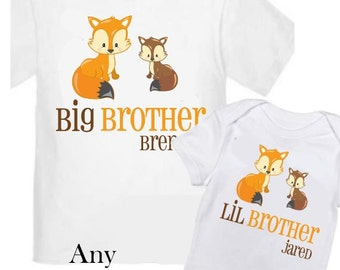 2 Big Brother Fox Shirts Set Siblings Little Brother T-shirts