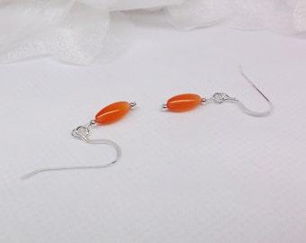Orange Mexican Opal Earrings Orange Earrings Dangle Earrings 14kt White Gold Earrings or 925 Sterling Silver Earrings BuyAny3+Get1Free