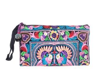 Wristlet Clutch HMONG Embroidered Handmade Fair Trade Thailand BG810-V