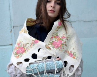 SALE!!!!!!   Nuno felted scarf, white scarf,  russian shawl, floral scarf, OOAK, felted art
