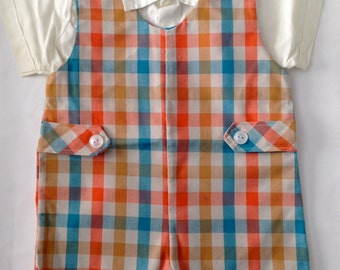 Vintage 1950s Toddler Boys Plaid Short Coveralls Shirt Set 12 Months