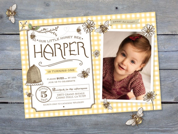 1st birthday invitation vintage bee style for first birthday party il570xn filmwisefo