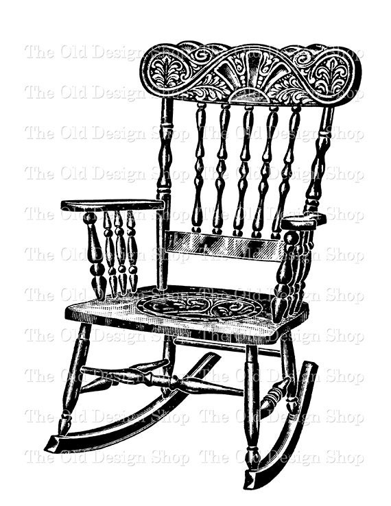 rocking chair clipart. Antique Rocking Chair Digital Download Printable Clip Art Transfer Image PNG JPG Clipart M