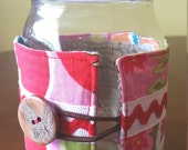 Non Slip Mason Jar Cozy - Pint, Bright Floral with Red Ric Rack