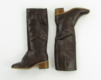 Rosita Riding Boots - Vintage 1970s Vegan Knee High Boots 8 - Unworn Deadstock