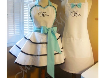 His & Hers Custom Bridal Aprons, Accented In Robin's Egg Blue...Perfect Bridal Shower Gift