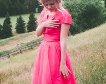 Vintage 1950s Pink Party Dress with Rosette // 50s Prom Dress