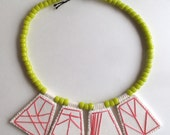 """Hand embroidered geometric necklace hot pink pendants with yellow glass Native American """"crow"""" beads with yellow Ghanian bead toggle"""