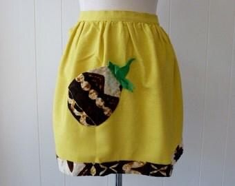 50's Pineapple Apron Novelty Print Yellow Green Hawaiian Barkcloth Pocket