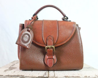 Vintage Cognac Leather Clutch Handbag