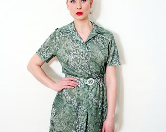 Vintage Shirt Collar Floral Print Sage Green Dress
