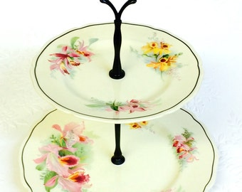 Royal Doulton Orchid 2 Tier Cake Stand