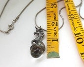 Vintage Silver Color Pewter Unicorn Fantasy Charm Pendant Necklace - with clear marble orb