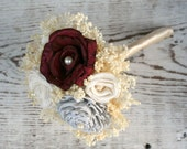 Mini Maroon Red & Light Grey Everlasting Wedding Bouquet - Ivory Sola Wood Flowers, Babys Breath - Dark Red, Gray, Small, Posy, Wand, Tosser
