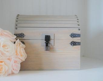 Keepsake Box with CARD SLOT and LOCK, wedding box, wedding chest, rustic wedding, custom box, hope chest, time capsule