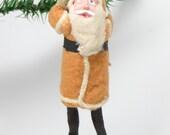 1940's Santa Christmas Ornament, 5 3/4 Inch, Hand Painted Clay Face, Cotton Beard, Spun Cotton Hands & Legs