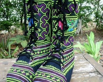 Combat Boots Womens Boots In Green And Purple Hmong Embroidery Mid Calf Lace Up Boho Boots - Britta