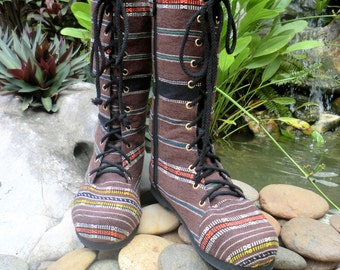 Combat Boots Womens Boots In Brown Ethnic Karen Handwoven TextilesMid Calf Lace Up Boho Boots - Britta