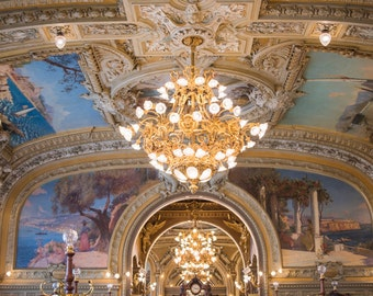 Paris Photograph - Le Train Bleu Restaurant, Chandelier, Ornate, Fine Art Photograph, Large Wall Art, Home Decor
