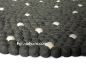 White dot grey felt ball rug, handmade felt ball rugs, home delivery.