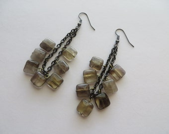 Handcrafted Black Nickel Glass Beads Earrings