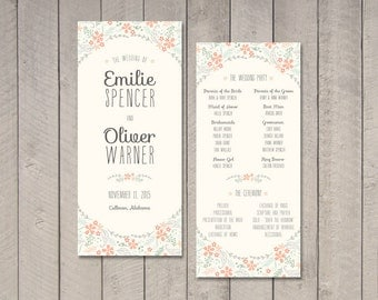 Floral Wedding Program (Printable) by Vintage Sweet