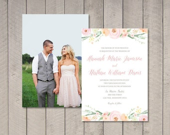 Vintage Floral Wedding Invitation (Printable) DIY by Vintage Sweet