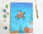 Sea turtle wall art, original acrylic painting