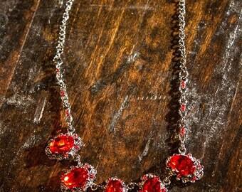 SALE!- Red jewel bib necklace -bridal, bridesmaids, wedding, special occasion