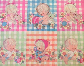 Authentic 60s Gift Wrap - Baby Shower Boy/Girl