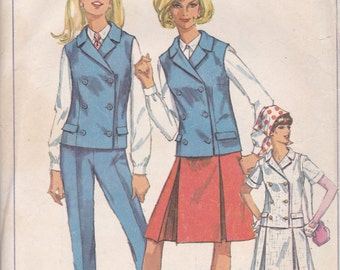 Double Breasted Vest or Jacket, Pleated Skirt and Pants Pattern Simplicity 6886 Size 18